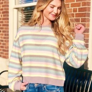 Z Supply Pastel Rainbow Stripe Cropped Pullover -M